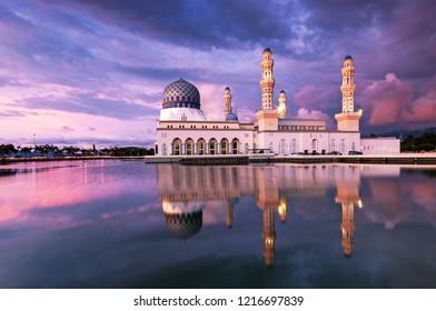 Kota Kinabalu Sabah Borneo Malaysia landmark attraction - floating mosque during sunset