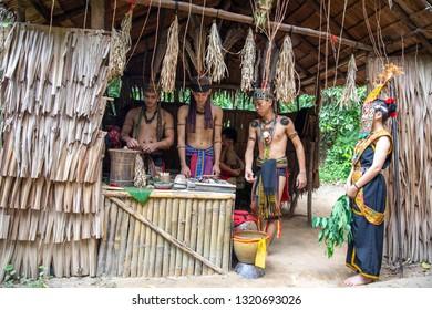 Kota Kinabalu, Sabah / Malaysia - 02.07.2019: residents of Mari Mari Cultural Village - Murut people. Murut mans is headhunter