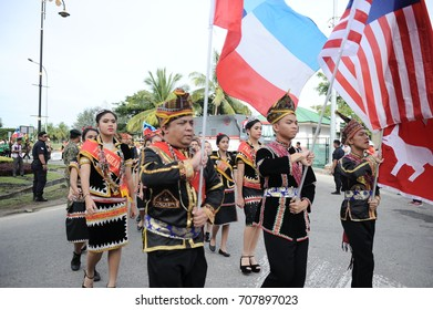 Kota Kinabalu Sabah Malaysia – 31st  August 2017 : A group of malaysians wearing lotud traditional costumes during the celebration of 60th National Day at Kota Kinabalu, Sabah.Malaysia.