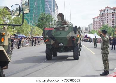 Kota Kinabalu Sabah Malaysia – 31st  August 2017 : Royal Malaysia Army during the celebration of 60th National Day at Kota Kinabalu, Sabah.Malaysia.