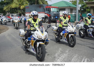Kota Kinabalu Sabah Malaysia – 31st  August 2017 : Police Contingent during the celebration of 60th National Day at Kota Kinabalu, Sabah.Malaysia.