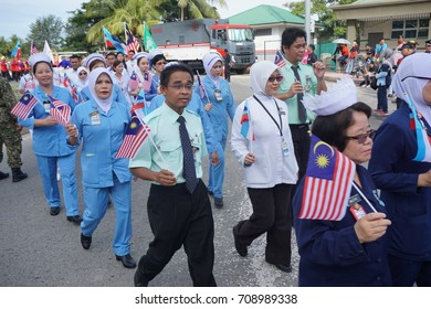 Kota Kinabalu Sabah Malaysia – 31st  August 2017 : Ministry of Health Contingent during the celebration of 60th National Day at Kota Kinabalu, Sabah.Malaysia.