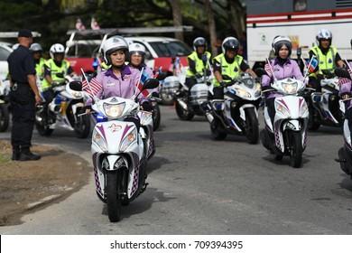 Kota Kinabalu Sabah Malaysia – 31st  August 2017 : Royal Malaysia Police Contingent during the celebration of 60th National Day at Kota Kinabalu, Sabah.Malaysia.