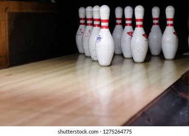 Kota Kinabalu, Sabah. MALAYSIA | 5 January 2019 - Pins at the end of a bowling alley.Skittles for bowling. Centre Point mall.