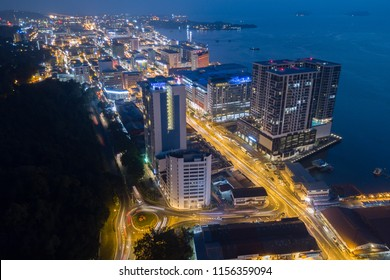 Kota Kinabalu Sabah Malaysia - Aug 14, 2018 : Partial view of Kota Kinabalu city at night. Kota Kinabalu is a capital city of Sabah state located at north Borneo Island.