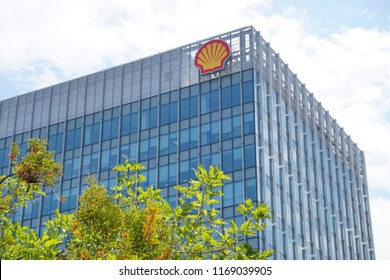 Kota Kinabalu Sabah Malaysia - Aug 31, 2018 : Shell logo at Shell Plaza building in Kota Kinabalu.Royal Dutch Shell sold its Australian Shell retail operations to Dutch company Vitol in 2014.