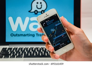 Kota Kinabalu Sabah Malaysia - Aug 10, 2017: Waze application on Iphone 5.  Malaysia has the highest number of Waze user in South East Asia and ranked among the top five countries globally.