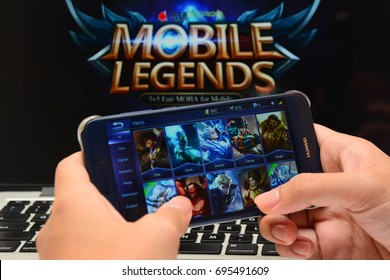 Kota Kinabalu Sabah Malaysia -Aug 10, 2017: Mobile Legends games plays on mobile phone. Educators encourage to re-design educational curriculum into an interactive and media rich learning environment.