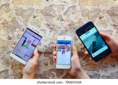 Kota Kinabalu Sabah Malaysia - Aug 20, 2017: Facebook and Quora application on mobile phones. Users of social networking sites are advised not to reveal critical personal information to guard privacy.
