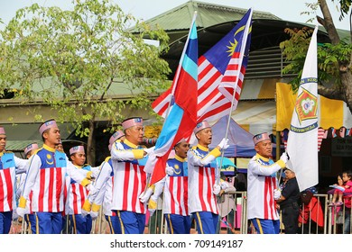 KOTA KINABALU SABAH, MALAYSIA AUG 31, 2017: Unidentified Malaysian citizens join the parade on Malaysia's 60th anniversary of Malaysia Independence day in Kota kinabalu waterfront street.