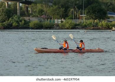 Kota Kinabalu Sabah, Malaysia - August 7, 2016: People paddling in a kayak is on a river, kayaking