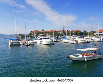 Kota Kinabalu Sabah, Malaysia - August 13, 2016 :scene at Sutera Harbour Marina,  a hub for yachting and sailing in South East Asia.