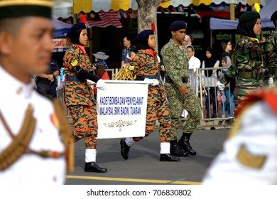 Kota Kinabalu Sabah, Malaysia - August 31, 2017 :Independence Day Parade during  Hari Merdeka, The day refers to when the Federation of Malaya's officially gained independence from the British Empire.
