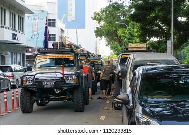 Kota Kinabalu, Sabah, Malaysia - CIRCA DECEMBER ,2017 : The four wheel drive Club gather in Kota Kinabalu city before take off to the jungle of Borneo.