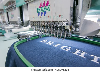 Kota Kinabalu, Sabah , Malaysia - December 02, 2015 : Embroidery machine on T-shirt in Textile Industry at Garment Manufacturers