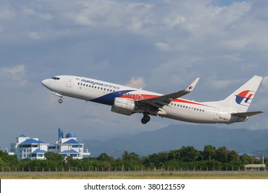 Kota Kinabalu Sabah Malaysia - Feb 22, 2016 : Malaysia Airlines Boeing 737-800 taking off at Kota Kinabalu. The Airlines is own by Malaysian government and currently under business restructuring.