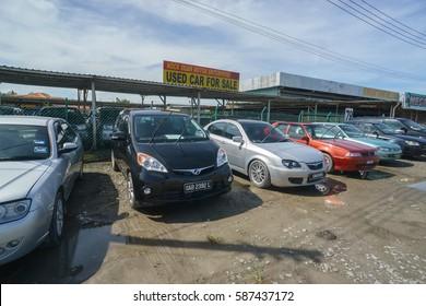 Kota Kinabalu Sabah Malaysia - Feb 25, 2017 :  Various types of used car on display at Kota Kinabalu Sabah. The public react recently, to government's proposal to dispose car above 20 years old.