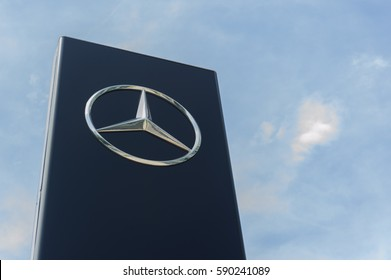 Kota Kinabalu Sabah Malaysia - Feb 25, 2017 :  Mercedes Benz logo at Kota Kinabalu showroom. Mercedes Benz a German automotive company is well known for its luxury car line up.