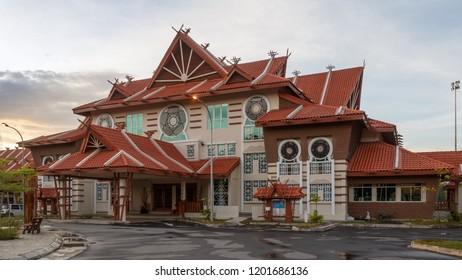 Kota Kinabalu, Sabah, Malaysia - February 15 2018: National Department of Culture and Arts, Sabah Branch (malay: Jabatan Kebudayaan dan Kesenian Negara Sabah).