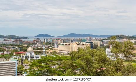 "Kota Kinabalu, Sabah, Malaysia - February 20 2018: Sabah State Mosque and ""WISMA MUIS"" (abbrev. for Majlis Ugama Islam Sabah = Sabah Islamic Religious Council )"