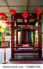 Kota Kinabalu, Sabah, Malaysia - February 6 2013: Chinese lanterns in Pu Tuo Si Buddhist Temple, also known as Pu Toh Temple, propagating Mahayana Buddhism