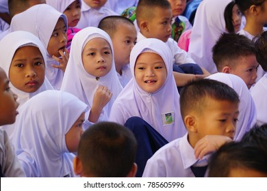 Kota Kinabalu Sabah Malaysia - Jan 2, 2018 : Malaysian kids attending first day school session 2018 in Kota Kinabalu. Kids aged between 7 to 18 years old are compulsory to attend school in Malaysia.