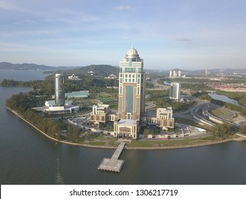 Kota Kinabalu, Sabah, Malaysia - January 5, 2019: The new Sabah State Administrative Centre, in Likas, Sabah. The 33-storey office tower is the tallest building in Borneo.