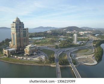 Kota Kinabalu, Sabah, Malaysia - January 5, 2019: The new Sabah State Administrative Building in Likas, Sabah. The 33-storey office tower is the tallest building in Borneo.