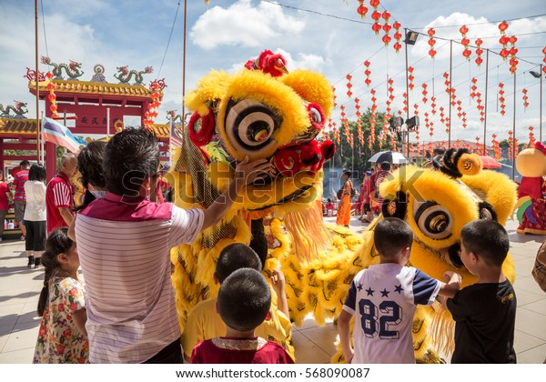 Kota Kinabalu, Sabah , Malaysia - January 27, 2017 : Lion dance show in chinese new year festival on 1st day Chinese new year on Peak Nam Toong , Kota Kinabalu Sabah, Malaysia