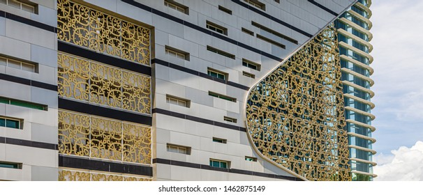 Kota Kinabalu, Sabah, Malaysia - June 9 2019: Exterior view of Sabah Regional Library at Tanjung Aru Plaza, opened on April 1 2019, incorporating motifs of Sabah's ethnic communities into its design.