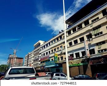 Kota Kinabalu Sabah, Malaysia - June 28, 2017 : View of Kota Kinabalu shop, street and traffic.Kota Kinabalu formerly known as Jesselton, is the capital of the state of Sabah, Malaysia.