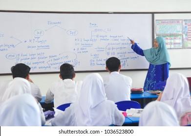 Kota Kinabalu Sabah Malaysia - Mar 1, 2018 : Young Malaysian attending secondary school in Tuaran Sabah. Malaysian government providing free education to all Malaysian.