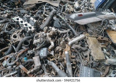 Kota Kinabalu Sabah Malaysia - Mar 9, 2017 : Used automotive spare parts yard pictured on Mar 9, 2017 in Kota Kinabalu Sabah. Most used parts is imported from Japan for local market.
