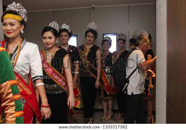 KOta Kinabalu Sabah, Malaysia - May 27, 2018 : Unduk Ngadau contestant registration day for Kaamatan (Harvest ) Festival in Sabah.