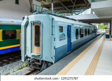 Kota Kinabalu, Sabah, Malaysia - November 30 2018: Rail bus 8502 of Sabah Strate Railway, operated by Sabah State Railway Department, at platform 2 of the new Tanjung Aru Railway Station.