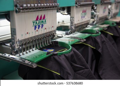 Kota Kinabalu, Sabah , Malaysia - November 02, 2016 : Embroidery machine on T-shirt in Textile Industry at Garment Manufacturers
