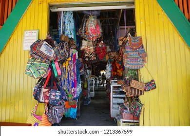 Kota Kinabalu Sabah, Malaysia - October 26, 2018: Scene at Handicraft market or well known as Filipino Market. A very popular market to buy Sabah's Pearls and souvenirs.