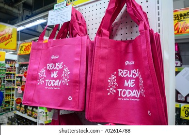 Kota Kinabalu Sabah Malaysia-Aug 22, 2017: Tote reusable shopping bag at Giant Hypermarket. Malaysia has embarked on National Waste Minimization Study to formulate master plan on implementation of 3R.