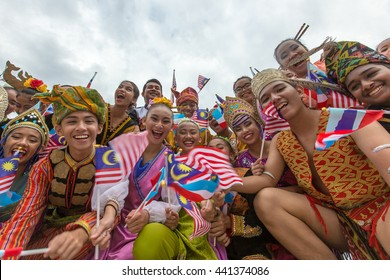 Kota Kinabalu Sabah Malaysia-August 31, 2015:Malaysians participate in National Day parade, celebrating the 58th anniversary of independence on August 31, 2015 in Kota Kinabalu Sabah Malaysia.