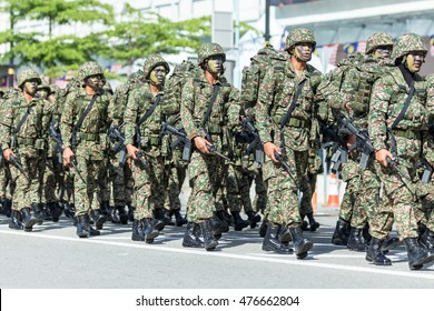 Kota Kinabalu Sabah Malaysia-August 31, 2016:Malaysians participate in National Day parade, celebrating the 59th anniversary of independence on August 31, 2016 in Kota Kinabalu Sabah Malaysia.