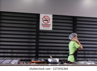 Kota Kinabalu Sabah Malaysia,Jan. 02 2019 - Malaysian goverment enforce law that all eatery in Malaysia is cigarette smoke free area starting Jan. 01, 2019.