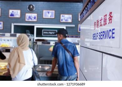 Kota Kinabalu Sabah Malaysia,Jan. 02 2019 - Self service eatery in Putatan Kota Kinabalu.