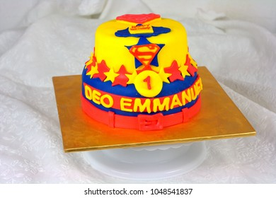 Kota Kinabalu Sabah, Malaysia-March 2, 2018: Superman inspired cake using fondant icing, also commonly referred to simply as fondant is an edible icing used to decorate or sculpt cake.