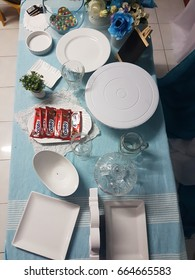 Kota Kinabalu Sabah, Malaysia-May 20, 2017 : Blue theme dessert table party for baby boy full moon. Full moon party celebrate the arrival of new baby.