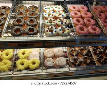 Kota Kinabalu Sabah Malaysia-Sept 28, 2017: Selection of donuts at Dunkin Donuts in Kota Kinabalu,Malaysia