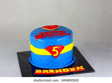 Kota Kinabalu Sabah, Malaysia-September 1, 2019: Superman inspired cake using fondant icing, also commonly referred to simply as fondant is an edible icing used to decorate or sculpt cake.