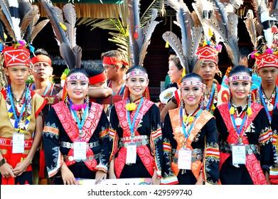 Kota Kinabalu, Sabah. May 30, 2016: Young lads of the Murut ethnicity of Sabah durig Pesta Kaamatan. Pesta Kaamatan or harvest Festival is a major annual event for the Kadazandusun of Sabah, borneo.