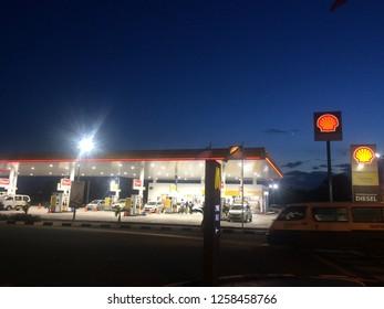 Kota Kinabalu, Sabah. November 11, 2018: Shell Petrol Gas Station at Night with lights on.