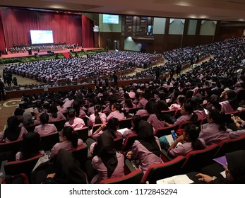 Kota Kinabalu, Sabah-Sept 6,2018: New students who are enrolled at the Universiti Malaysia Sabah during the Students Oath Taking ceremony any the Chancellor Hall.