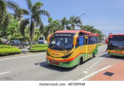 KOTA KINABALU/MALAYSIA - AUGUST 31 2016: Yellow-green bus on the street of Kota Kinabalu town in Malaysia. Borneo island